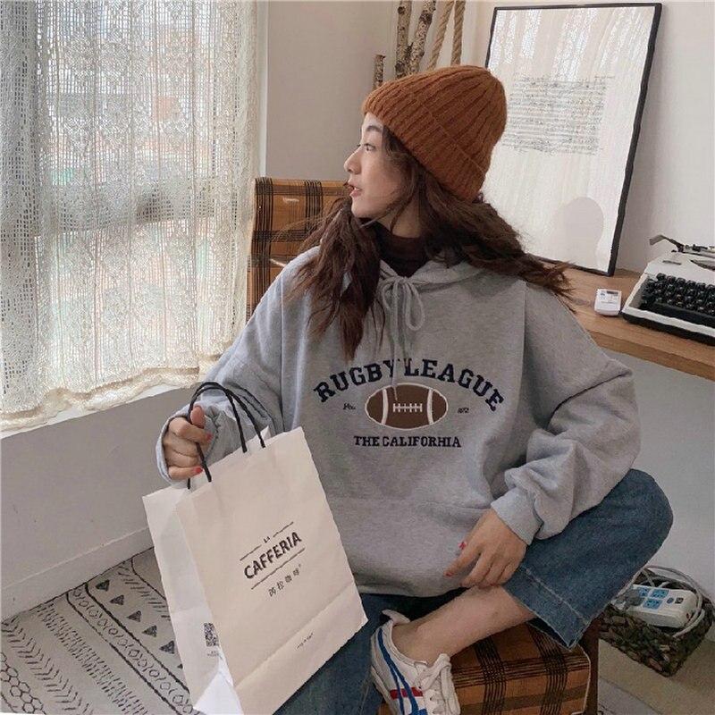 Outono 2021 moletom com capuz feminino coreano moda pulôver casual com capuz manga longa estilo rua solto grande hoodie