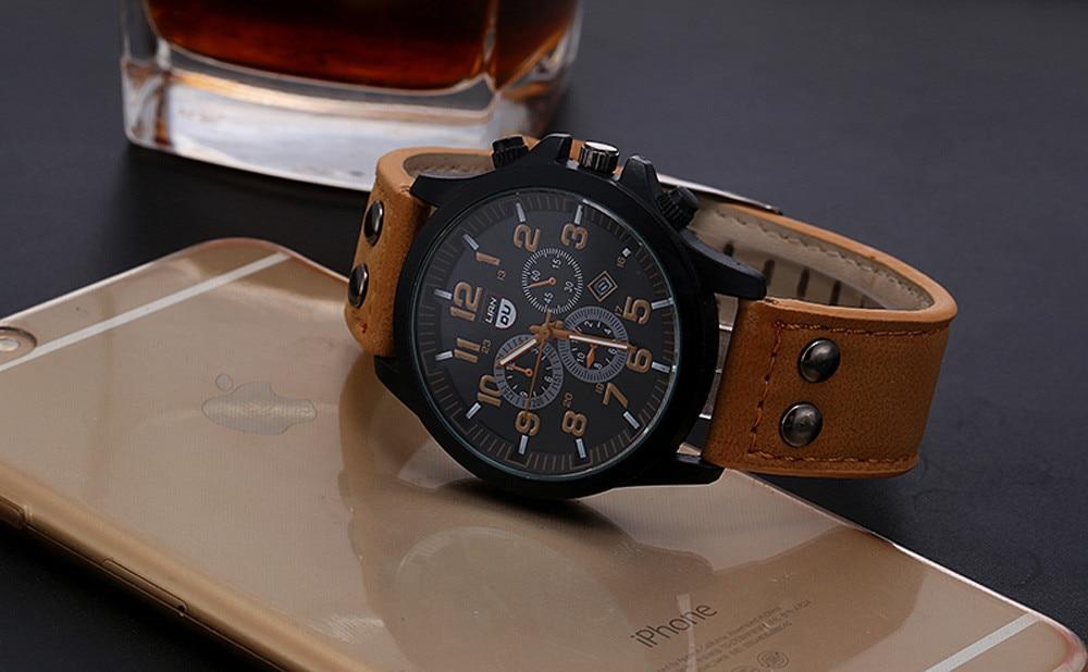 Leather Waterproof Date Quartz Analog Men's Quartz Wrist Watches Luxury Brand Men's Watches CLOVER JEWELLERY