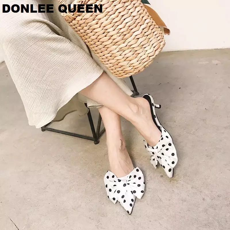 2020 Spring Slippers Women Polka Dot Sandal Fashion Bow Tie Women Shoes Mules Casual Pointed Toe Slip On Slides zapatos de mujer