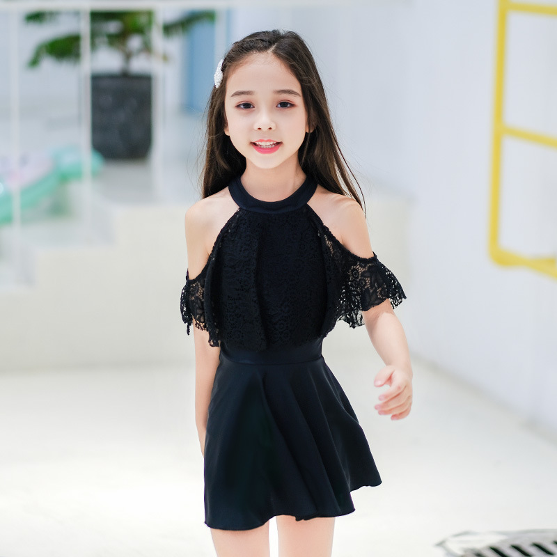 New Style Girls Baby Girls Bathing Suit Solid Color Dress Lace Forms Korean-style Princess Hipster Big Boy Swimwear