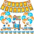 44 шт Blippi воздушные шары торт топпера, счастливые Баннеры для дня рождения вечерние украшения пакет для детей с Blippi шар Для мальчиков и девоч...