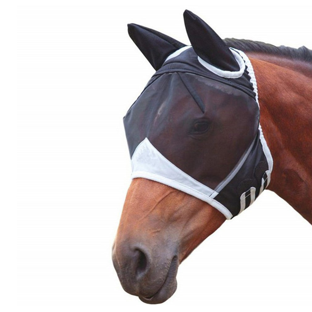 Horse Detachable Mesh Mask With Nasal Cover Horse Fly Mask Horse Full Face Mask Anti-mosquito Nose Anti-UV