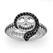 """Hanreshe с принтом """"Кошмар перед Рождеством"""" кольцо Салли эмаль серебряное кольцо подарок для пар, Винные Бокалы Для Мода вечерние ювелирное кристаллическое кольцо Для женщин подарок"""