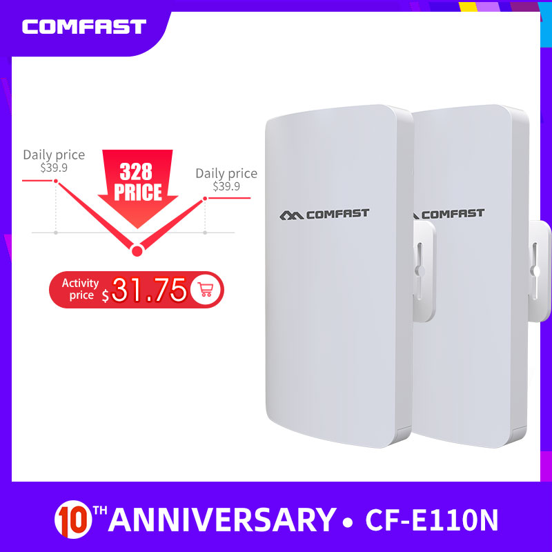 Comfast 300Mbps 2.4G Draadloze Outdoor Wifi Lange Range Cpe 11dbi Antenne Wi-fi Repeater Router Access Point Bridge ap CF-E110NV2 title=