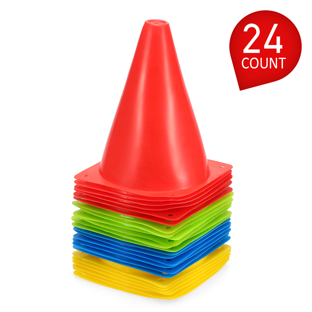 7 Inch Plastic Sport Training Traffic Cone Space Marker Plastic 24 Pack For Kids Home Football Training Soccer Four Holes