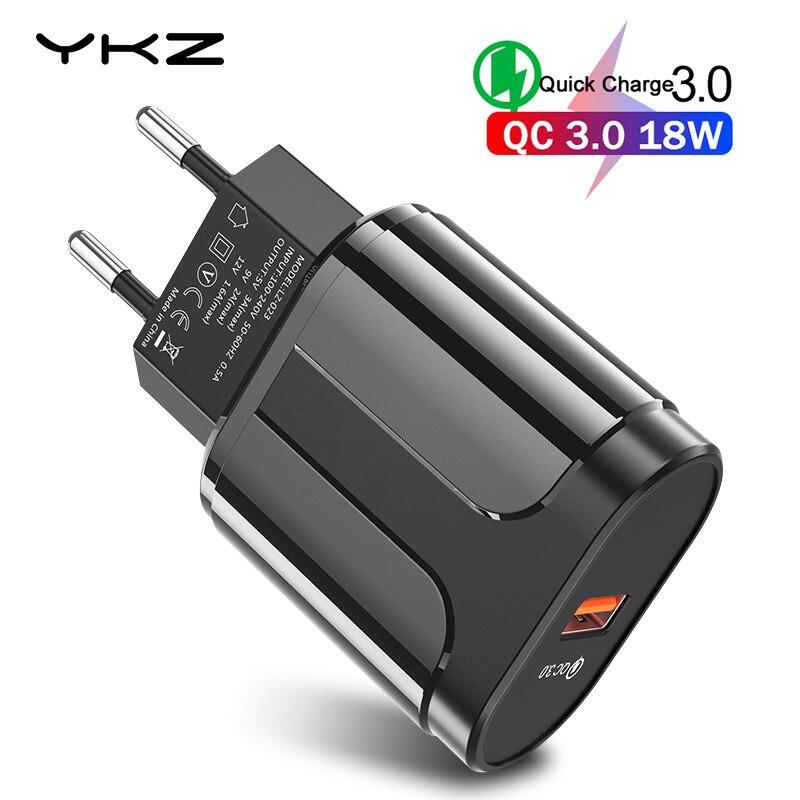 YKZ USB зарядное устройство Quick Charge 3,0 QC3.0 Быстрая зарядка ЕС/штепсельная вилка американского стандарта мобильный телефон зарядное устройство ...
