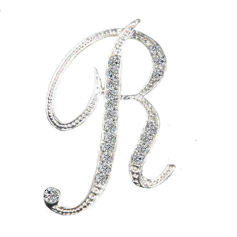 vysoce kvalitní křišťálové zlato stříbro dopis brož zářící kamínky brože pin dívka vánoční dárky doplňky pro ženy