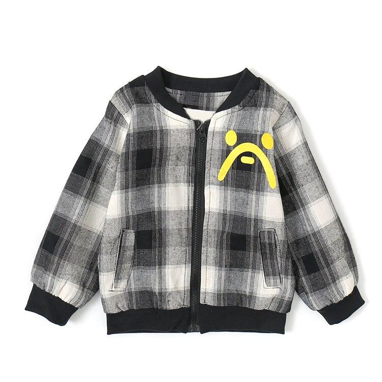 Alta qualidade crianças primavera cardigan xadrez jaqueta 90-140cm menino em torno do pescoço superior roupas dos miúdos