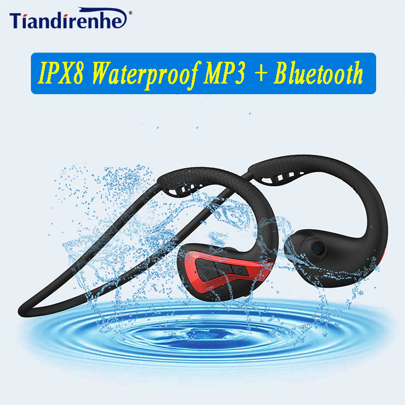 New 8G IPX8 Waterproof MP3 Player And Bluetooth Earphones Music Player Swimming Earbud Sports Diving Running Stereo Grm Swim