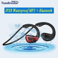 Nowy 8G IPX8 wodoodporny odtwarzacz MP3 i słuchawki Bluetooth odtwarzacz muzyczny pływanie douszne sport nurkowanie uruchomione stereo Grm Swim