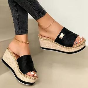 Platform Sandals Wedges Women Shoes High-Heels Casual Slippers Female Summer Brown Black