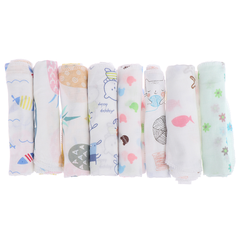 1PC Baby Handkerchief Square Fruit Cartoon Pattern Towel Washed Muslin Cotton Infant Face Towel Wipe Cloth