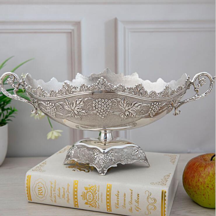 Assiette de fruits en alliage de zinc | Europe créative, bols à fruits, plats en métal, plateau à fruits secs pour la décoration de table