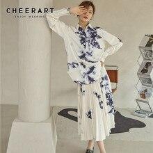 Midi Skirt Cheerart-Tie-Dye High-Waist-Ink Floral Long White Flowy Womens Ladies Pleated