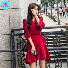 2019 autumn new ladies fashion temperament waist dress Knee-Length  Zippers Solid Sheath Office Lady