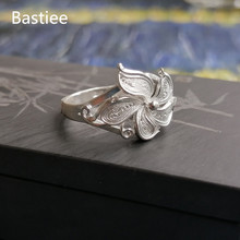 Bastiee 999 Sterling Silver Ring Bauhinia Flower Rings For Women Hmong Handmade Ethnic Luxury Jewelry Miao Silver Jewellery 10pcs bag bauhinia flower seeds bauhinia tree butterfly tree rare orchid flower tree seeds fresh bauhinia purpurea seeds
