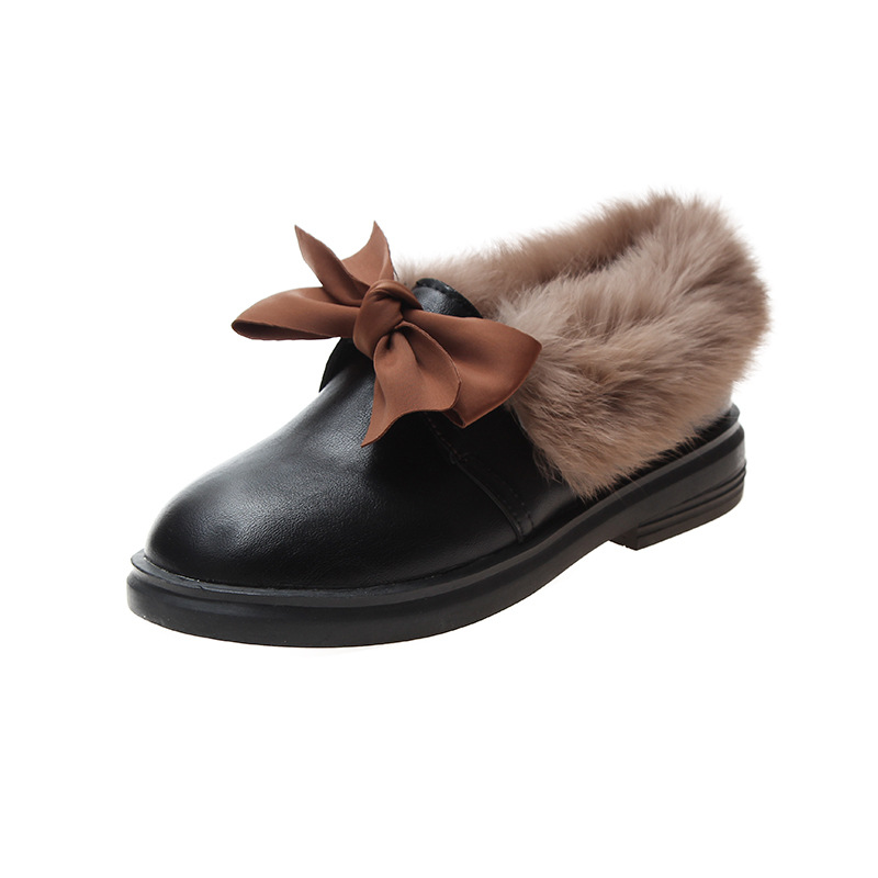 2019 winter long plush warm fur shoes bow tied decorate slip-on leather bullock shoes woman anti-skid chunky leisure espadrilles 65
