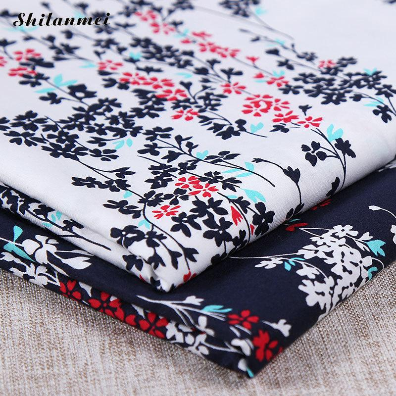 1.42m*2m Cotton Fabric Printed Floral Fabric Thin Density Bundle Square Stitching Lint Diy Quilting Flower Pattern Artcraft