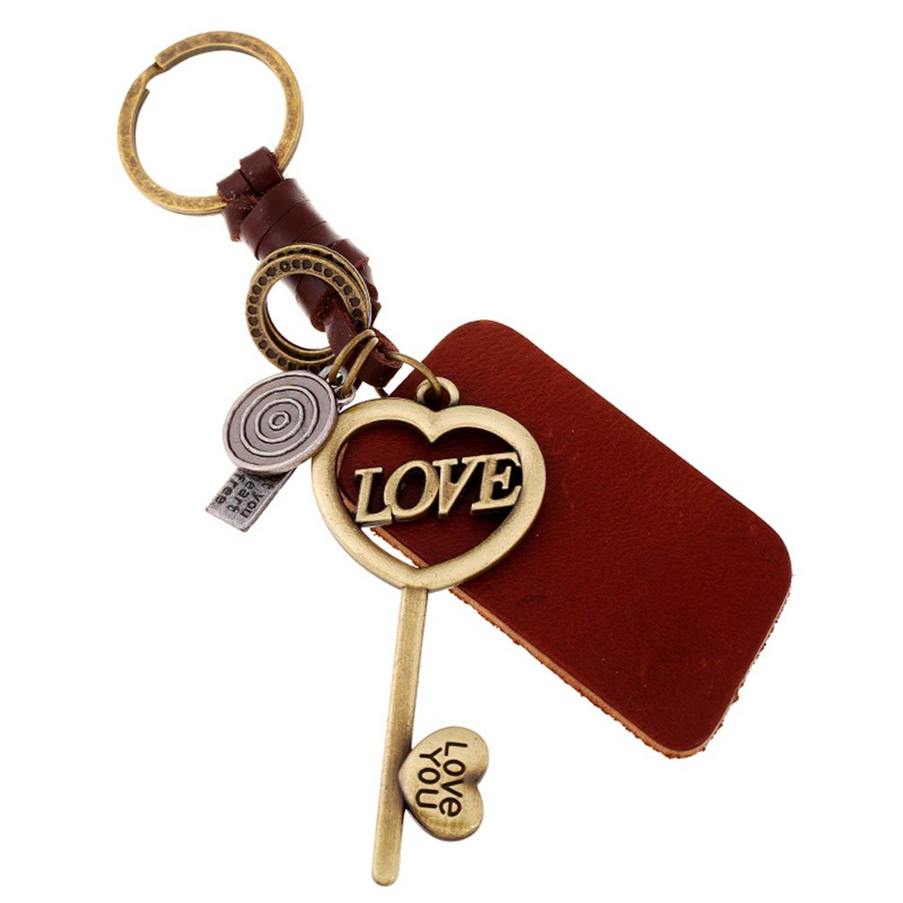 Hand Knitted Leather Cord Car Key Chain PU Leather Lovers Keychain Unique Alloy Bag Purse Pendant Keyring Car Keychain