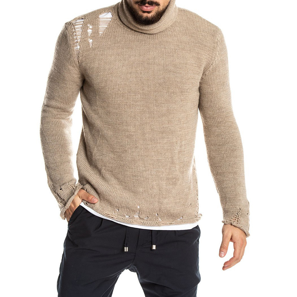 Men Sweater Round Neck Raglan Choker Broken Hole Sweater Men Long Sleeve High Quality Men Sweaters