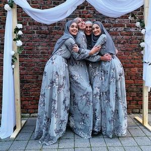 Image 5 - יוקרה מוסלמי רקמה העבאיה תחרה פאייטים מלא שמלת ערב המפלגה קימונו Vestidos ארוך שמלות גלימת Jubah עיד הרמדאן אסלאמי