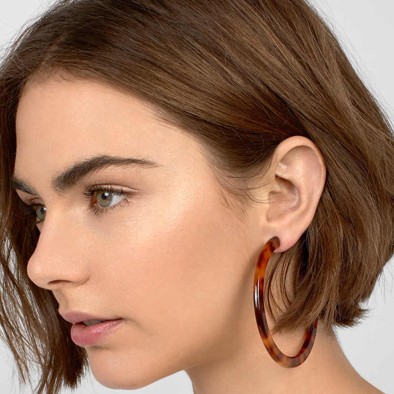 VOHE Fashion Simple And Versatile Geometric Earrings Acetate Plate C-type Earrings New Female Vintage Ear Drop Gift Jewelry