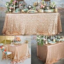 Скатерть из розового золота с блестками, блестящая круглая прямоугольная вышитая скатерть для свадебной вечеринки, Рождественское украшение
