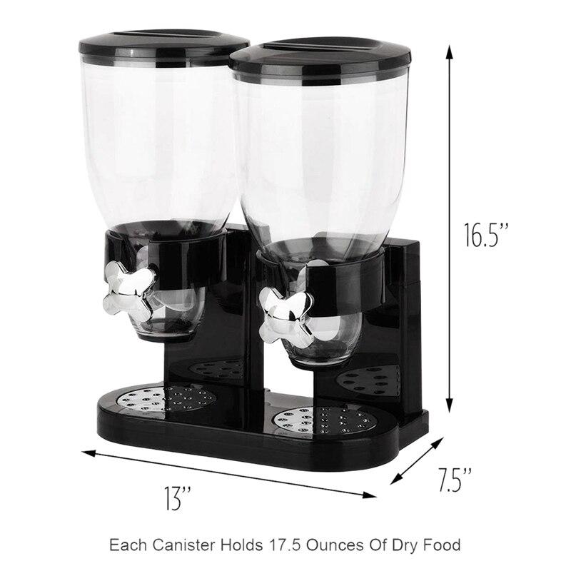 Двухкамерный герметичный диспенсер для зерновых и сухих продуктов с встроенным лотком для разлива для дома, кухни, столешницы, завтрака, домашних животных,