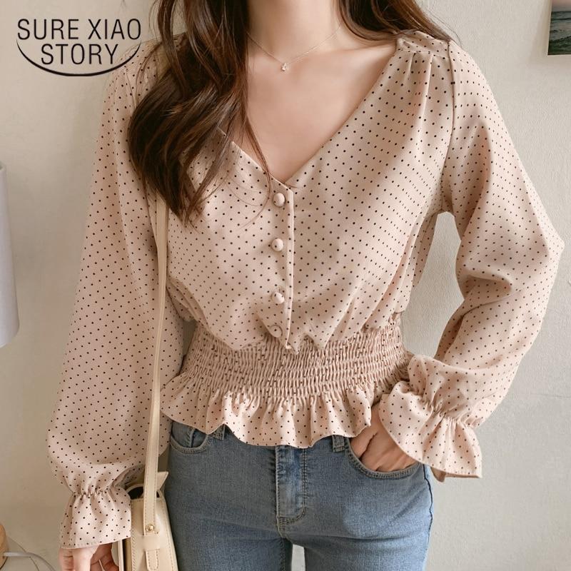 Vintage decote em v manga flare polka dot blusa feminina camisas elegantes botões dianteiros cintura fina babados blusa feminina 6602 50