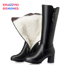 Krasovki Genuines Wool Women Zipper Snow Boots Fur Warm Shoes Plush Ankle Boots Warm Genuine Leather Platform Women Winter Boots 100% genuine leather natural fur snow boots warm wool women boots classic waterproof ankle boots women shoes lady winter boots