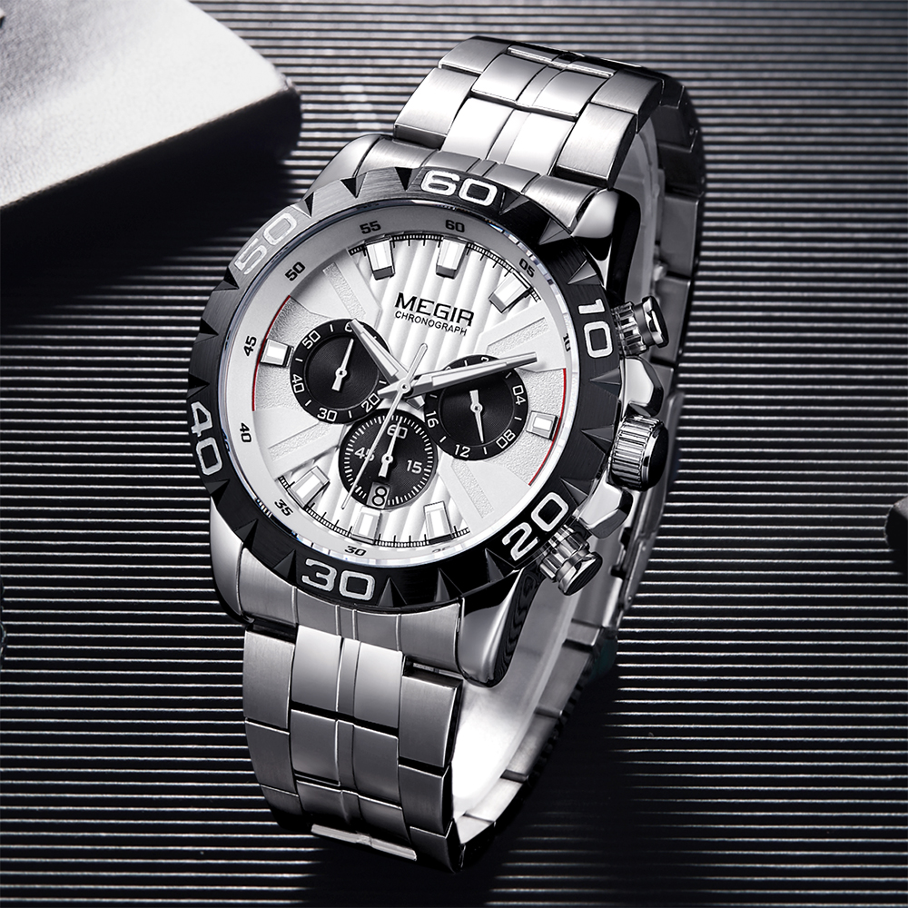 MEGIR 2020 New Fashion Mens Watches With Stainless Steel Top Brand Luxury Sports Chronograph Quartz Watch Men Relogio Masculino