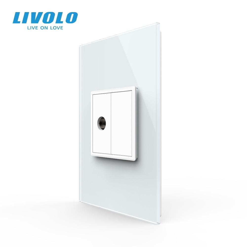 Livolo US AU Standard 45mm Luxurious Telephone Com TV  SATV Aiduo Socket, White Pearl Crystal Glass Panel, Socket Plugs