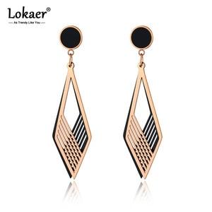 Lokaer, модные серьги из титана, нержавеющая сталь, с двойной полой геометрией, розовое золото, акрил, ручная работа, ювелирные изделия для женщ...