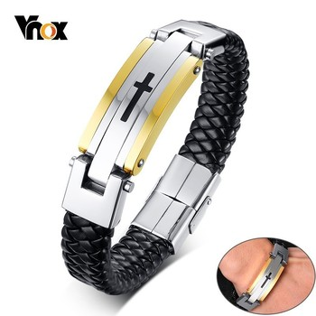 Vnox Mens Black Genuine Leather Bracelets Stainless Steel Cross pulseira masculina 8.26