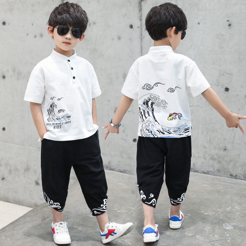Kids <font><b>Clothes</b></font> Boys Chinese Painting Tee Shirt & Pants Teen Summer Clothing Set 4 5 6 7 8 9 10 <font><b>11</b></font> 12 13 <font><b>Year</b></font> <font><b>Old</b></font> Boy <font><b>Clothes</b></font> Set image