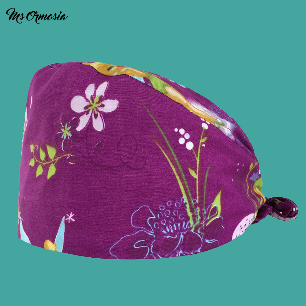 High Quality Purple Fairy Printing Men And Women 100% Cotton Beauty Nurse Cap Doctor Cap Drawstring Surgical Cap Medical Hat New