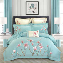 Chic Home Embroidery Egyptian Cotton Blossom Vintage Bedding set Queen King size 4Pcs Soft Duvet Cover Bed sheet 2Pillow shams - DISCOUNT ITEM  46% OFF Home & Garden