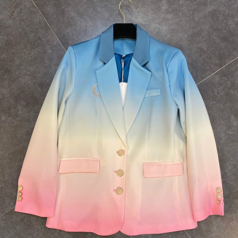 Spring Autumn Winter Long Sleeve Notched Collar Patchwork Color Single Breasted Loose Blazer Women Coat Suit Jacket Female