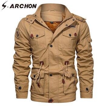 S.ARCHON Autumn Hoody Fleece Tactical Jacket Men Casual Cotton Windproof Military Jacket Thicken Bomber Multi Pockets Overcoat