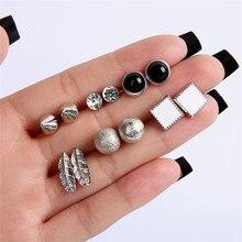 Luokey brincos de zircão redondo retro para as mulheres geométrico cor prata folha boêmio brinco senhora festa jóias presente atacado