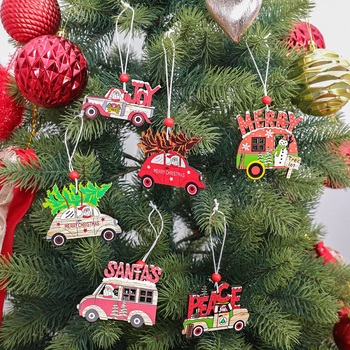 3pcs Christmas Car Wooden Pendants Xmas Tree Hanging Ornaments DIY Wood Crafts Kids Gift Noel Christmas Decorations for Home led light christmas tree star car wooden pendants ornaments xmas diy wood crafts kids gift for home christmas party decorations