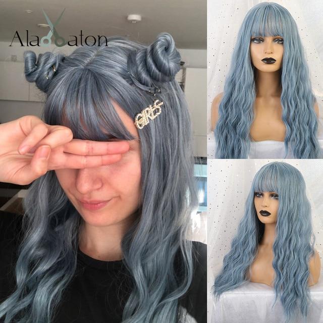 アランイートン波状女性かつら高温繊維合成かつらロング波状毛ウィッグ女性ブルーかつら前髪女性