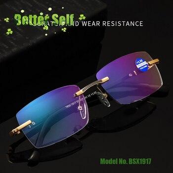 Anti Blue Optical BSX1917 Light Bifocal Reading Glasses Near Far Eyewear Coated Lenses Tr90 Temple Rimless Eyeglasses