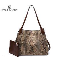 Женская сумка на плечо со змеиным принтом вместительная дизайнерская