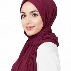Image 1 - 31 color 10pcs/lot High quality jersey scarf cotton plain elasticity shawls maxi hijab long muslim head wrap long scarves/scarf