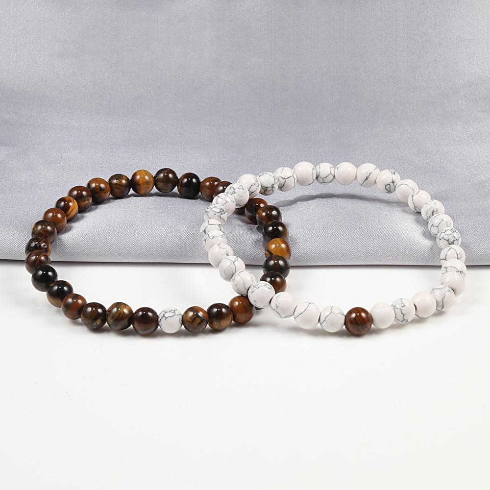 Hot 2pcs/set 7 Style Couples Distance Bracelet Classic Natural Stone White And Black Yin Yang Yoga Beaded Bracelet for Men Women 3