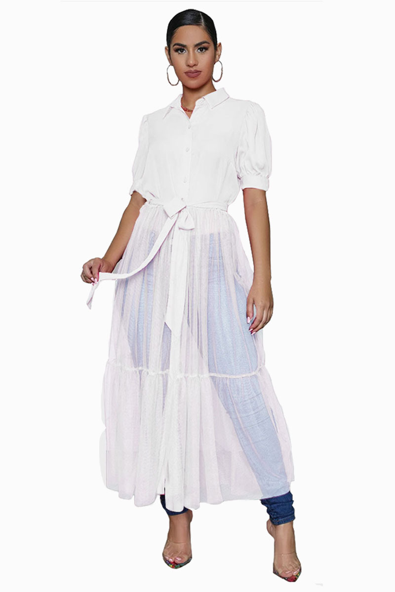 Fashion Shirt Style Button Gauze Dress Ladies Long Street Solid Color Dress Casual Home Commuting Dress Female Wholesale 7