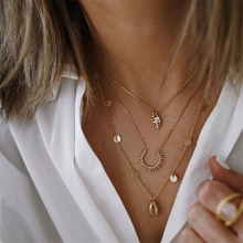 Womens Necklace Gold color Retro Long Multilayer Fishbone Shell Round Pendant Fashion Jewelry 2019 new