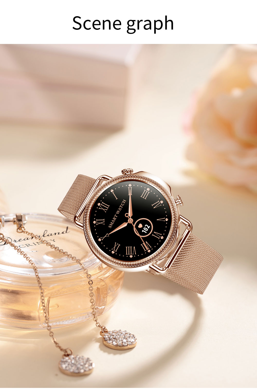 H794a98334d2c480b96c9761f14ab7d303 2021 Women Smart Watch 1.28 inch HD Screen IP67 Waterproof Lady's Watches Body Temperature Heart Rate Monitor PK V23