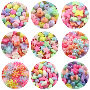 100pcs/lot Mixed Acrylic Beads Heart Stars Loose Spacer Beads for Needlework Jewelry Making Handmade Diy Bracelet Accessories 1
